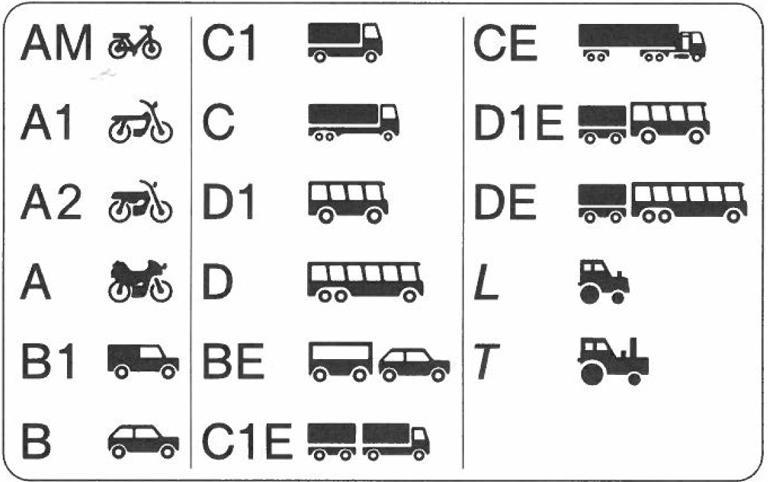 Fahrschulklassen Piktogram