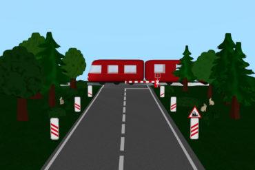 Bahnübergang mit Zug, Andreaskreuz und Verkehrsschild, Bäumen und Häschen