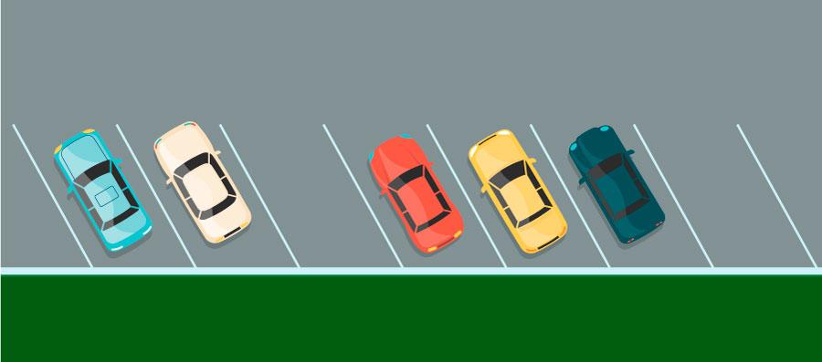 Diagonale Parkplätze