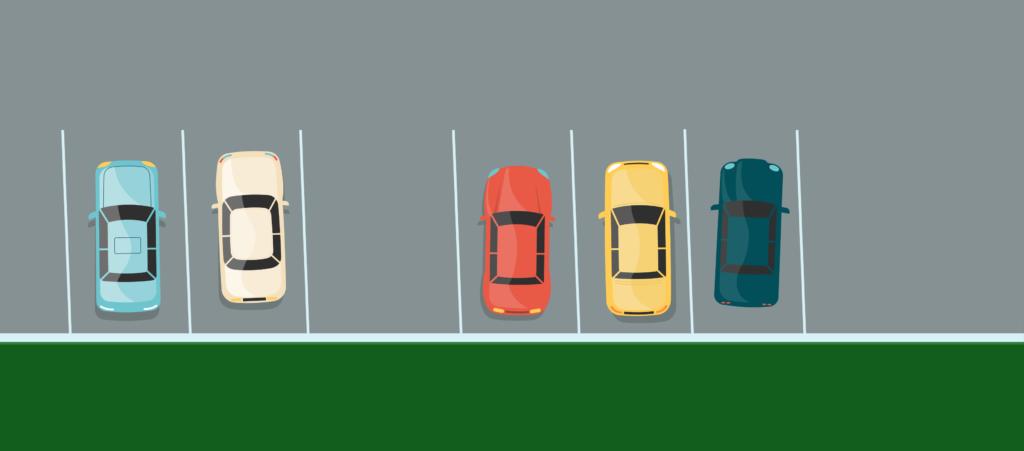 Gerade Parkplätze